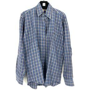Luciano Barbera Plaid Button Down Linen Shirt M